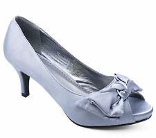 WOMENS SILVER SATIN OPEN-TOE SLIP-ON MID HEEL COURT SMART WORK SHOES SIZES 3-8