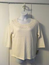 New Women's Elementz Ivory Soft Beaded Acrylic Lightweight Sweater size XL