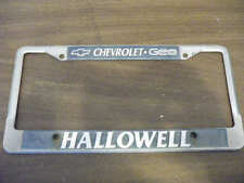 Chevrolet Geo Hallowell License Plate Frame Chevy holder tag embossed metal