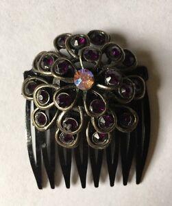 "Handmade FLOWER SHAPED PURPLE Stones, 1 1/2"" BLACK STATEMENT HAIR COMB"