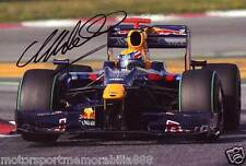 MARK WEBBER RED BULL SIGNED 6x4 PHOTO F1 FORMULA ONE AUTOGRAPH PRINT