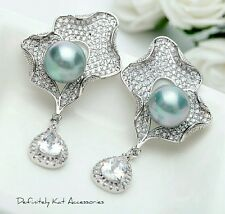 Stunning silver white cubic zirconia & gray pearl delicate bridal earrings