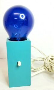 "Wood Block Lamp Blue Bulb Nite Lite 6.5"" 1970s Works!"