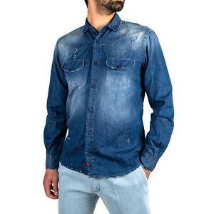 Camicia jeans uomo blu  denim classica slim fit manica lunga sconto saldi -50%