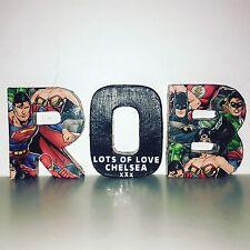 Cualquier nombre 5 letras Batman Superman personalizado de 4 Pulgadas Letras Regalo De Cumpleaños