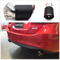 1x Carbon Fiber Matt Stainless Steel 2.5-4.0'' Angle Adjustable Car Exhaust Pipe