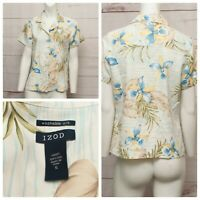 IZOD Women's Blue Yellow Floral Silk Short Sleeve Button Down Shirt Size Small