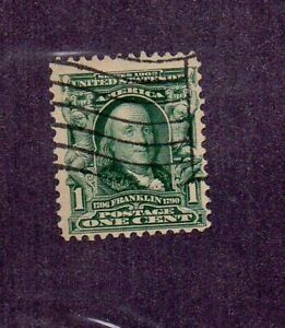 US #300, Benjamn Franklin stamp, EFO with sitch watermark, used.
