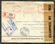 p102 - FINLAND 1941 Registered CENSORED Cover to Canada. Advertising Meter Cxl