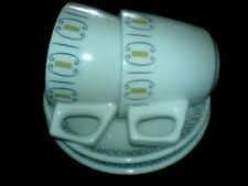 GRINDLEY & CO LTD GRANITE VITRIFIED Lattice Mustard/Black Cup+Saucer x2 c1925
