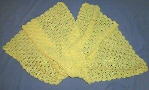 "Hand Crocheted Scallop Pattern Yellow Baby Blanket Nursery Decor Size 42"" x 60"""