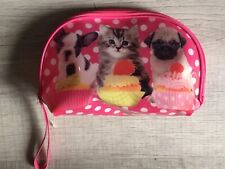 Nwot Justice Girls Cosmetic Case Bag Travel Dogs Cupcakes Zip Cat Pug Terrier