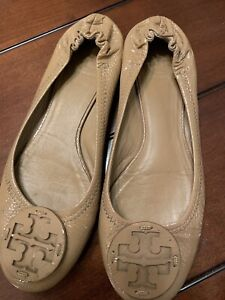 Tory Burch Reva Nude Patent Leather Ballet Flats Size 9