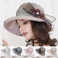 Summer Sun Hat Women Wide Brim Hats Pearl Flowers Floppy Visors Beach CaES