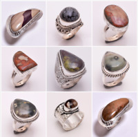 925 Sterling Silver Ring SIZE US 8, Natural Jasper Handcrafted Jewelry Gift CR52