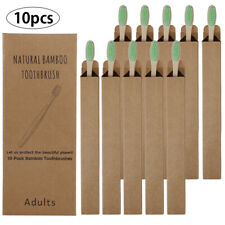 10pcs Bamboo Tooth Brushes Soft Bristles Oral Care Travel Toothbrush Green Adult