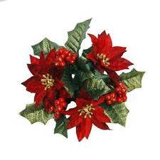 "New 1"" Candle Size Candle Ring Christmas Decoration Poinsettia & Berry"
