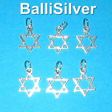 6 pieces 925 Sterling Silver Medium size 15mm STAR OF DAVID Charm Pendants Lot