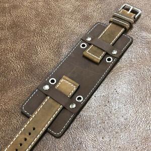 Rock Biker Bund Style Cow Leather Cuff Watch Strap/Band Size18/20/22mm #BH6