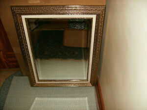 """NEW IN BOX HOMCO #8927 LaBELLE GOLD FRAME MIRROR 33"""" x28"""" HANG HORIZON OR VERTIC"""