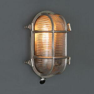 SILVER BULKHEAD LIGHT - Indoor / Outdoor Industrial Wall Light Solid Brass IP64