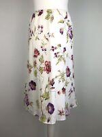 Laura Ashley Skirt Size 12 petite 100% Linen Flare Floral Cottagecore Vintage