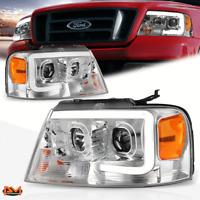 For 04-08 Ford F-150/ Mark LT 3D LED Bar Projector Headlight/Lamp Chrome/Amber