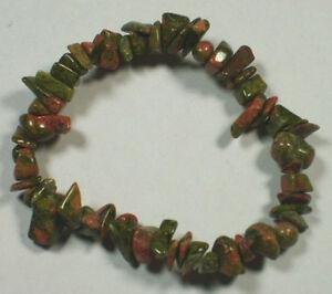 UNAKITE STRETCH BRACELET Stone Beads Chips Crystal Healing Chakra Reiki Wicca