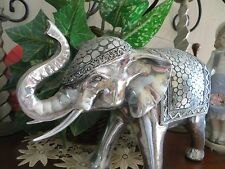 Silver Painted Elephant Figurine