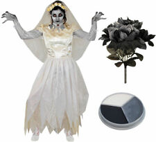 IL LADIES IVORY GHOST BRIDE COSTUME HALLOWEEN FANCY DRESS ZOMBIE CORPSE BOUQUET