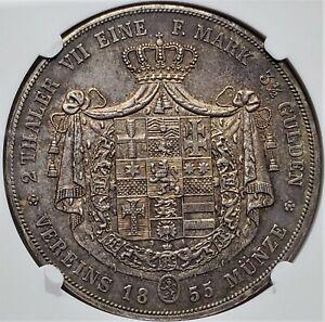 2Thaler 1855CP Friedrich Wilhelm I German States HESSE-CASSEL AU58 NGC Very Rare