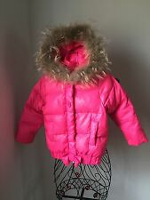 LILI GAUFRETTE  Pink Down Puffer Jacket with Real Fur Hood Trim size 5years