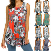 Womens Sleeveless Print Round Neck Blouse Shirt Casual Flare Tunic Tank Top