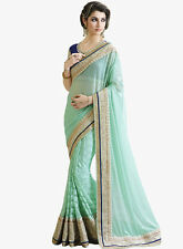 india tell me Designer Half Half  Beautiful Lace Work Saree