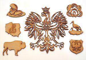 Polish Eagle Emblem fancy - size 180x165 mm & Polish symbols - MDF Blank shape