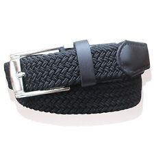 """MENS WEBBING BELTS REAL LEATHER TRIM LADIES ELASTICATED WOVEN BRAIDED STRETCH 1"""""""