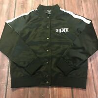 Justin Bieber Womens Purpose Tour Black Satin Bomber Jacket Size Small