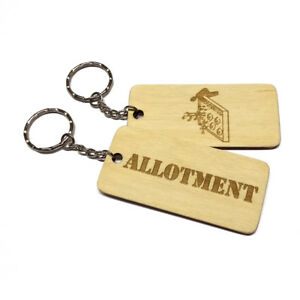 ALLOTMENT Keyring Engraved Wooden Keychain Key Fob Gate Grandad Dad Gift Idea