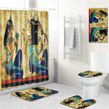 Egyptian Bathroom Rug Set Shower Curtain Shower Mat Bathmat Toilet Lid Cover