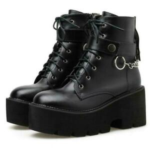Womens Round Toe Lace Up Chain Ankle Boots Punk Platform Chunky Mid Heels Shoes
