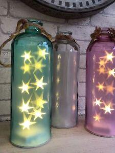 Vintage LED Light Up Glass Bottle Large Jar of Stars Starlight Wedding Decor