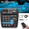 4 Channels Mini Audio Mixer USB Mixing Sound Card Bluetooth 48V Phantom Power