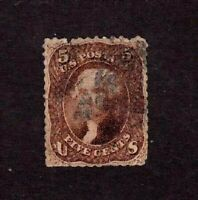 United States stamp #75, used, red brown shade,  1861-1866,  SCV $425