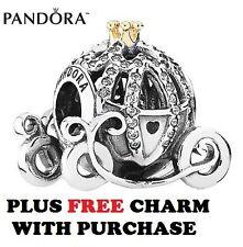 ORIGINALE Pandora Argento Sterling 14ct Oro Disney Cenerentola Zucca Carrozza Charm