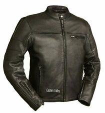 Mens Black 100% Cowhide Leather Cafe Style Biker Jacket