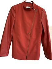 Akris Punto Red Wool & Lambskin Jacket— US Size 8 — EU Size 40