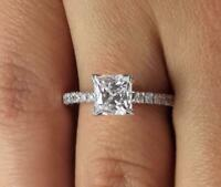 2 Carat Princess Cut Diamond Engagement Ring SI1/D White Gold 14k 6277