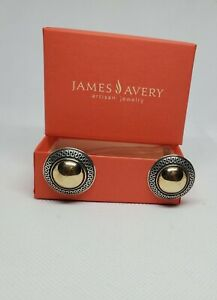 Retired James Avery Sterling Silver And 14k Yellow Gold Clip On Earrings