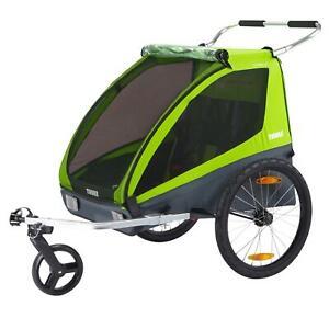 Thule 2-Sitzer Fahrrad Kinder Anhänger Coaster XT Grün Buggy 45kg Zuladung