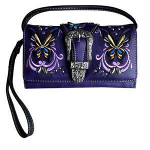 New Ladies Purse - Western Themed Butterfly - Purple Faux Leather - [MW100PU] la